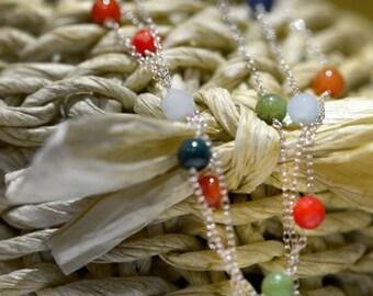 Semi - precious Stones Beaded Necklace Sterling Silver