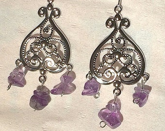Silver and Amethyst drop earrings