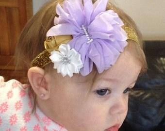 Lavender and gold first birthday headband, lavender gold birthday headband , lavender first birthday headband