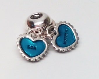 New Authentic Pandora Sterling Silver Piece Of My Heart Mother And Son Dangle Blue Charm bead 791152EN08
