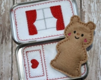 Pocket Teddy Tin Embroidery Machine Design for the 4x4 hoop