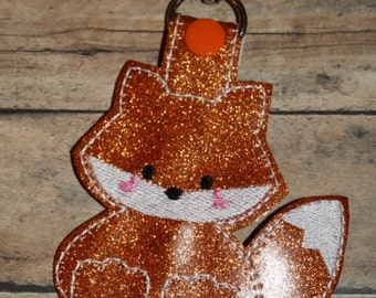 Fox BagTag /Keychain Embroidery machine Design for the 5x7 hoop