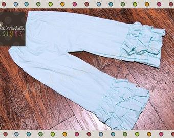 Aqua Ruffle Pants - Ready to Ship - Knit Ruffle Pants - Aqua Ruffle Pants - Elsa Ruffle Pants