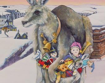 Christmas Card, Holiday Card, Greeted Christmas Card, Kangaroo Christmas Card, Child Christmas Card,
