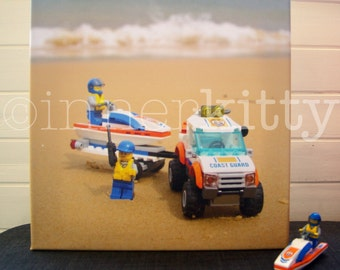 Lego Coast guards at the beach, canvas 30x30cm