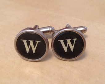 Letter W Typewriter Key Jewelry Cufflinks. NO GLUE!  Father's Day Gifts.  Mens cufflinks.