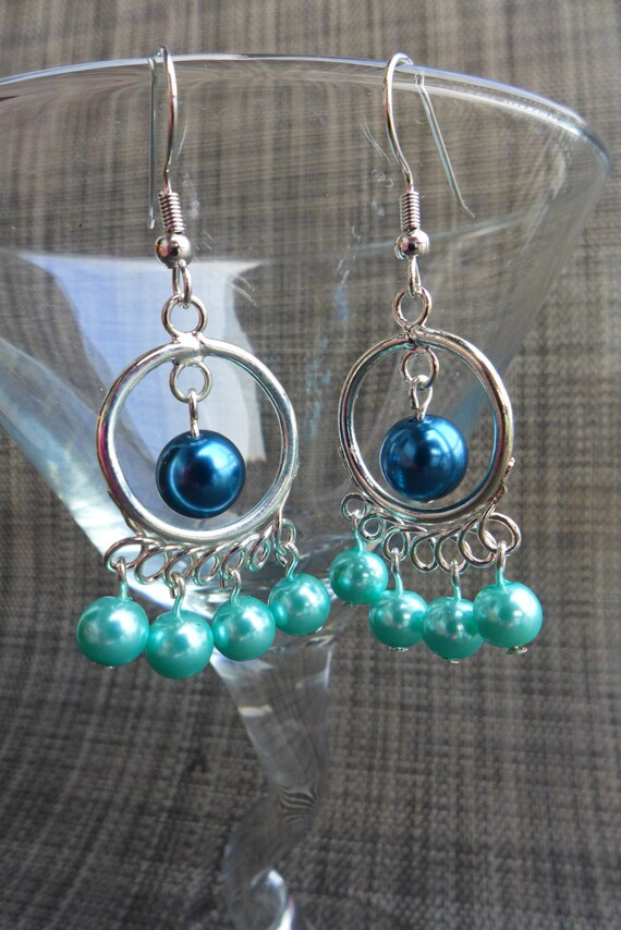 MARINERS inspired BLUE and TEAL Gameday Bubblegum Bead Chunky Earrings, pearl chandeliers