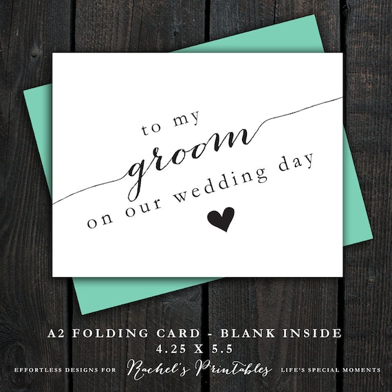 What To Write On A Wedding Gift Card: To My Groom On Our Wedding Day Card DIY By RachelsPrintables