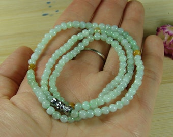 Handmade Green Bead Necklace Chinese Natural Grade A Jade Jadeite Pendant B-183-7
