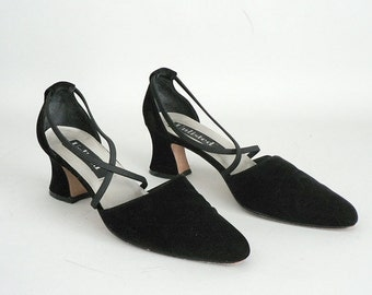 Womens Black Velvet Pumps Size 9