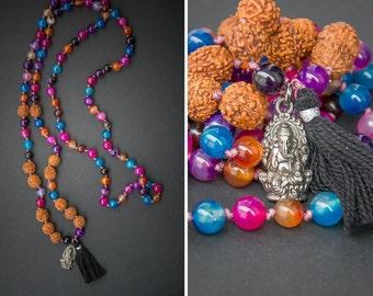 BOHO HINDI MALA long necklace bracelet // Ganesha pendant /  agate + holy rudraksha // hindu mala rosary fashion look / Yoga Necklace