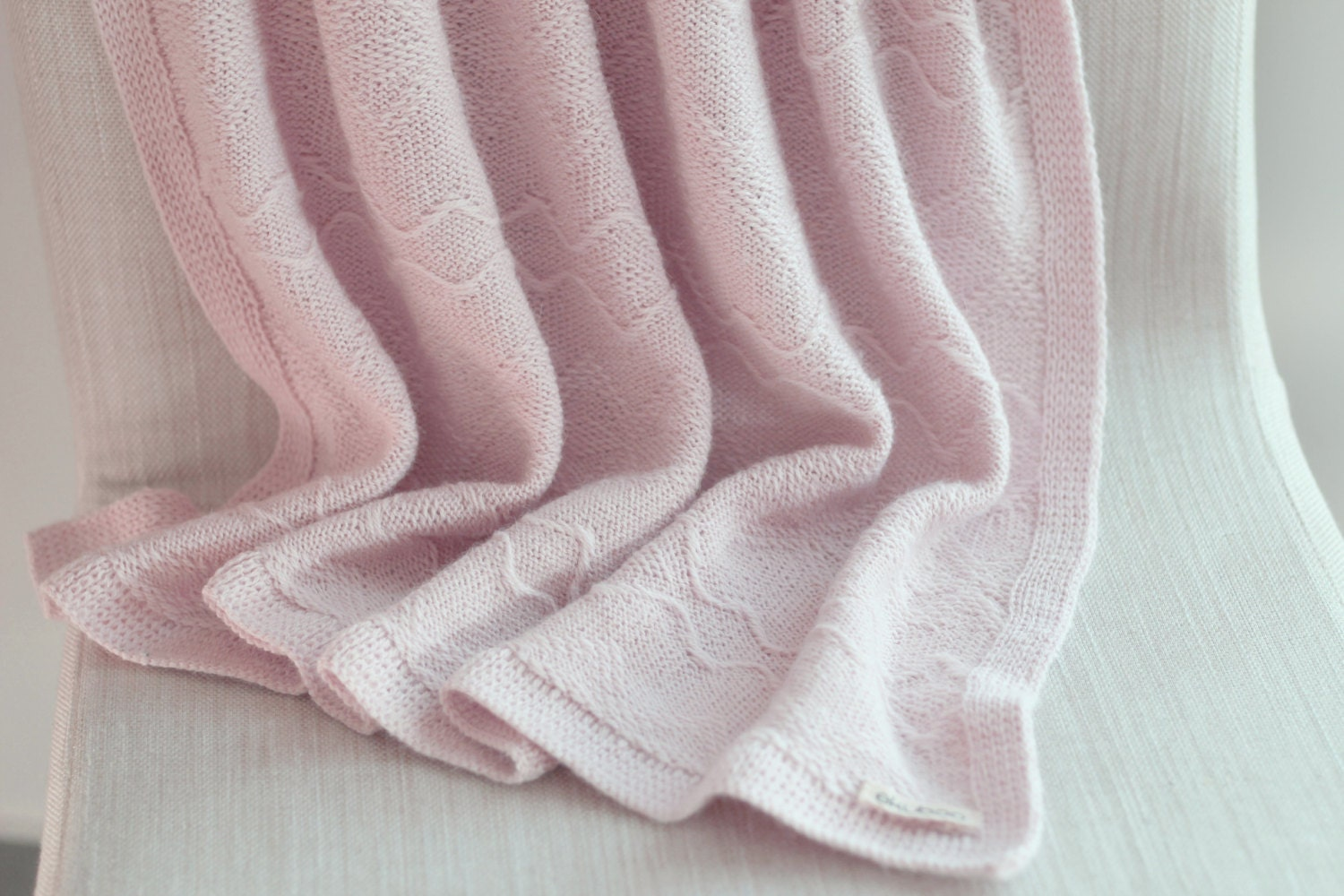 baby alpaca wool knit blanket light pink knitted wrap girl. Black Bedroom Furniture Sets. Home Design Ideas