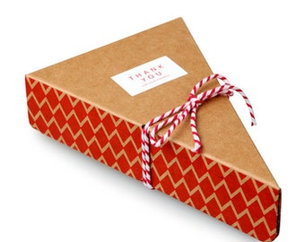 5 x Pie Box / Red Zigzag Pie Slice Boxes with lid / paper box / chocolate box / cookie box / gift boxes / craft box