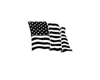 Waving American Flag Vinyl Decal Free Shipping!