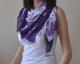 Cotton Purple and White Square Scarf with Needle Lace Edging, Purple Figures and Flowers Scarf, Cotton Scarf, Square Scarf