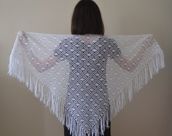 Cotton Crochet White Shawl, Cotton Wedding Shawl, Bridal Shawl, Bridal accessories, Bridal Shrug,Cotton Shawl,Lace Shawl,Bridal Wrap