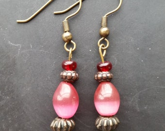 Rose Beaded Earrings, Glass Bead Earrings, Brown Earrings, Earth Tones Earrings, Boho Chic Earrings