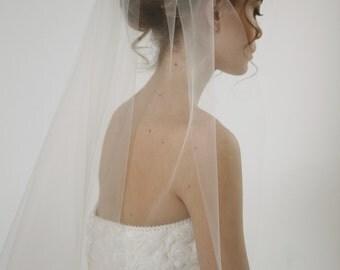 Single/ 1 tier wedding veil, simple tulle wedding veil, short wedding veil, Juliet - Style V11