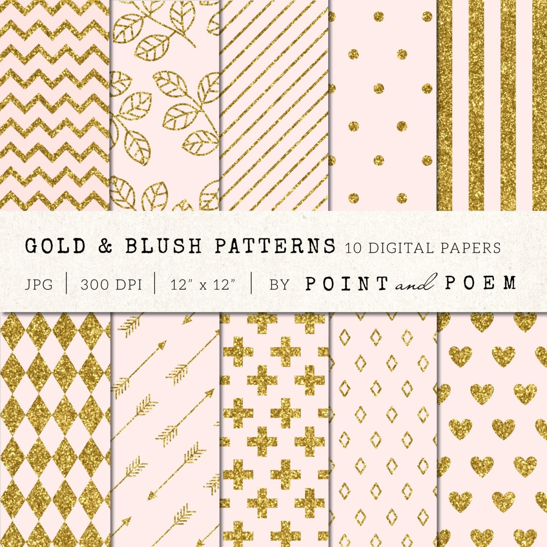 How to scrapbook with glitter paper - Gold Glitter Pink Digital Paper Gold Blush Glitter Patterns Gold Background Scrapbooking Digital Paper Chevron Stripes Polka Dots