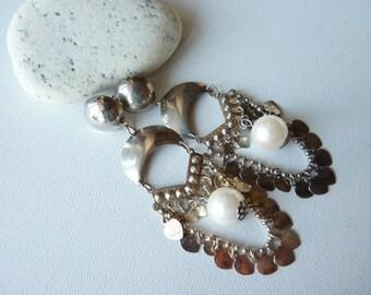 Vintage Silver Chandelier Earrings with Pearls,Big Chandelier Post Back ,Long Dangle Earrings,Gipsy Earrings,Costume Jewelry, FREE SHIPPING