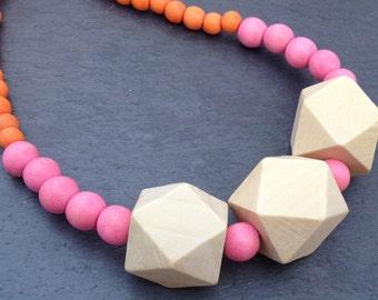 Pink, Orange & Cream Single Strand Wood Bead Necklace with Geometric Beads