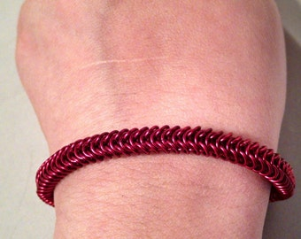 Red Box Weave Chainmaille Bracelet