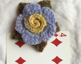 Small Leafy Crocheted Flower with Spiral Center