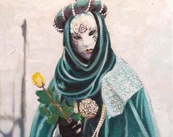 Venice Yellow Rose. Giclee fine art print from a painting by Cliff Towler. 8ins x 8ins canvas print hand embellished by the artist
