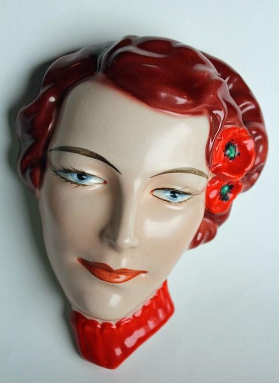 Art Deco Czech Wall Mask Czechoslovakia Collectible