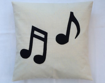 Musical Madness - Music Note Novelty Cream Black Retro Modern Unique Cushion Pillow Cover Felt Applique Quirky Unique 14 x 14 16 x 16 Large