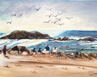 DAY at the BEACH  a pastoral beautiful day at the beach original oil painting on stretched canvas NOW***********  Free Shipping**********