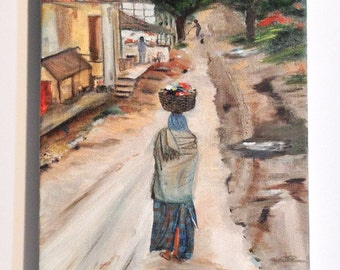 LAUNDRY DAY--Beautiful authentic original oil painting on canvas,unique art work ,one of a kind******* Now Free Shipping******