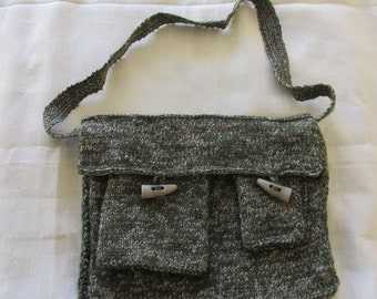 Hand knitted Green tweed satchel