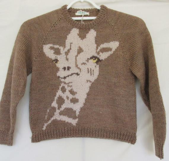 Giraffe Knitting Pattern Jumper : Hand knitted giraffe childs sweater