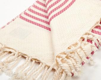 large waffled Fouta towel striped fushia Tunisian spa linen