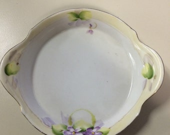 SALE***1900s nippon candy dish with hand painted violets***original price 14.99