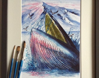 Pink and Blue Humpback Whale Sunrise Art Print from Original