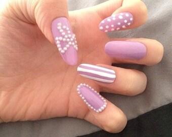 Customised False Nails, Acrylic Nails, Nail art, Nails, Matte nails, False nails, Pointy nails, Fake nails, press on nails, Glue on Nails
