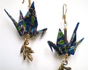 Origami Crane Earrings with Leaves Charm