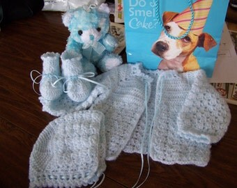Special Order Basic Crochet Baby Sweater Set, Made to order