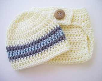 Baby Boy Outfit, Hat and Diaper Cover, Newborn Photo Prop, Baby Shower Gift, Baby Boy, Off White Grey Blue, Crochet Baby Hat, Newborn Hat