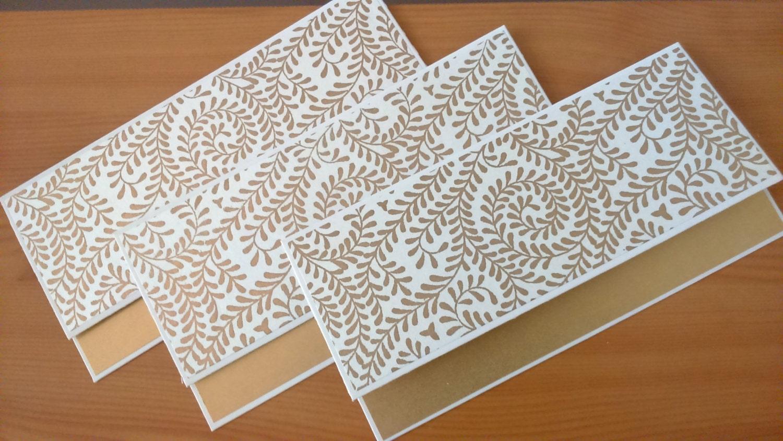 Wedding Gift Cash Envelope : Money Envelopes Set of 5 Gold and White / Money Holders /