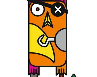 Pirate OWL T-Shirt for artwork transfer foil