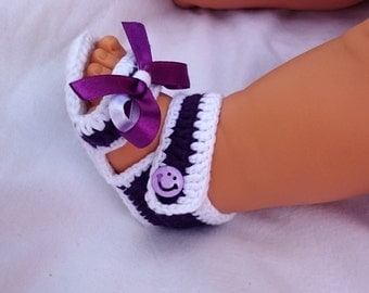White Purple Grey Croched Baby Sandals Handmade Shoes Gift Idea