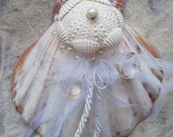 Ring Bearer Pillow + Seashell Ring Bearer + Shell Ring Holder + Natural and White Seashell Ring Bearer Pillow