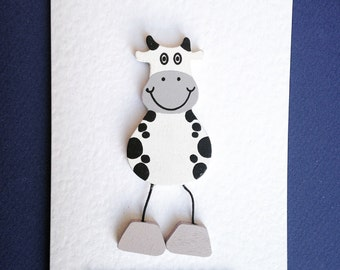 Cow card, black and white wooden cow card, happy birthday to moo card