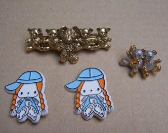 Vintage hair accessories 4 assorted hair barrette hair slide hair clip hair comb hair jewelry hair ornament hair adornment hair decoration