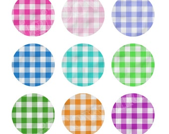 Gingham Fabric Instant Download Digital Collage Sheet One Inch Circles 1 inch Bottlecap Images Instant Download