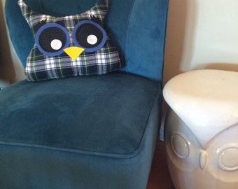 Blue plaid plush owl