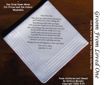 Grooms Gift Handkerchief From Loved One 0717 Sign & Date Free  2 Wedding Hankie Styles and 8 Ink Colors. Grooms Handkerchief from Bride